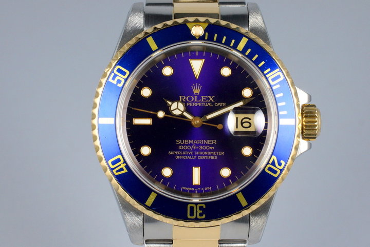 1991 Rolex Two Tone Blue Submariner 16613 photo