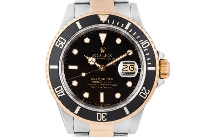 1985 Rolex Two Tone Submariner 16803 Black Dial with Box and Papers photo