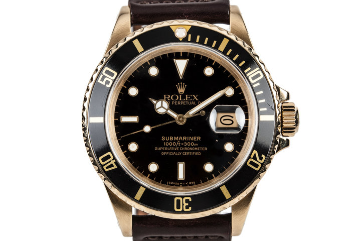 1986 Rolex 18K Gold Submariner 16808 photo