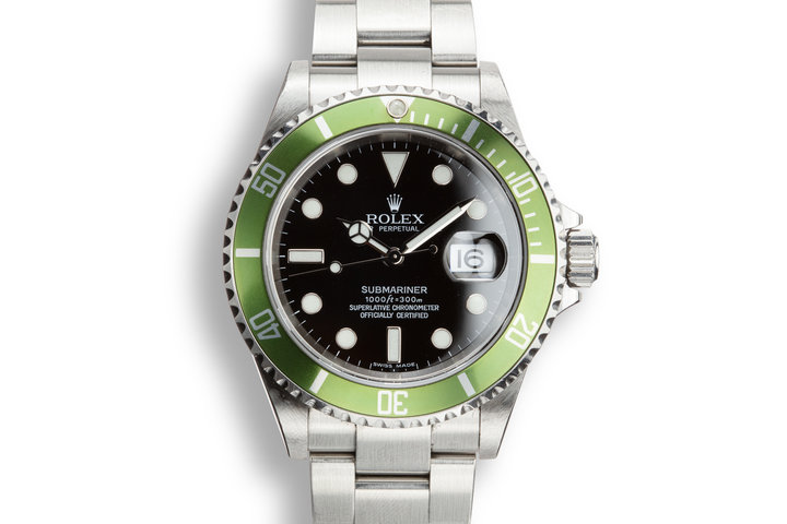 2005 Rolex Green Submariner 16610 with Box and Papers with Lime Green Insert photo