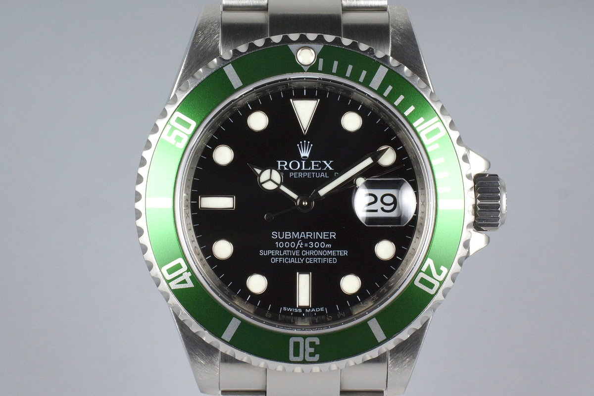 2007 Rolex Green Submariner 16610V with Box and RSC Papers photo, #0
