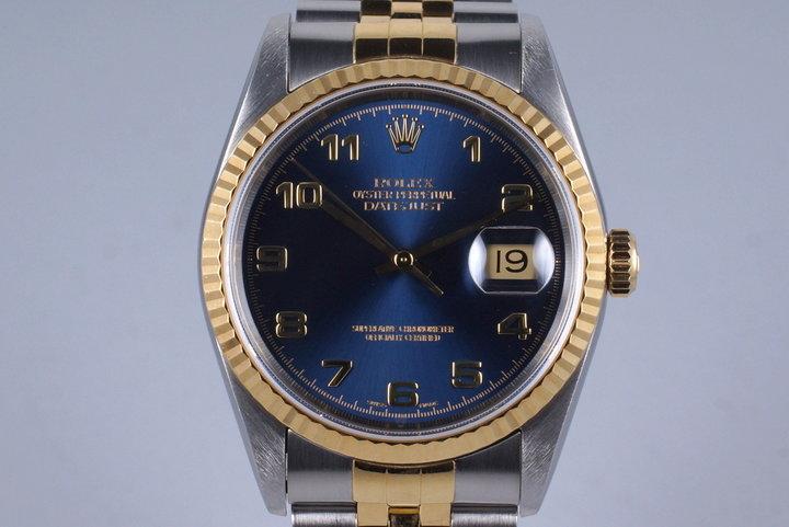 1991 Rolex Two Tone DateJust 16233 Blue Arabic Dial photo