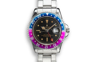 1963 Rolex PCG GMT-Master 1675 Fuchsia with Gilt Underline Dial and All Red 24 Hour Hand photo