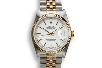 1989 Rolex Two-Tone DateJust 16233 White Dial with Box and Papers photo