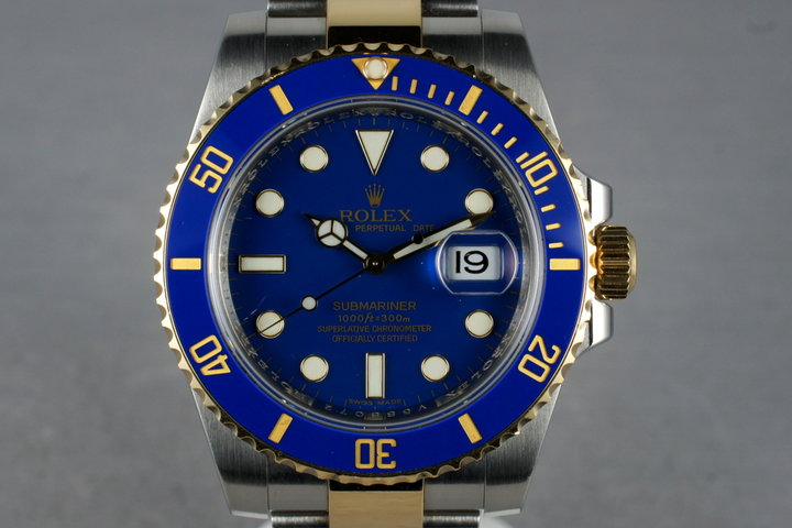 2009 Rolex Ceramic 18K/SS Submariner 116613 with Blue Dial photo