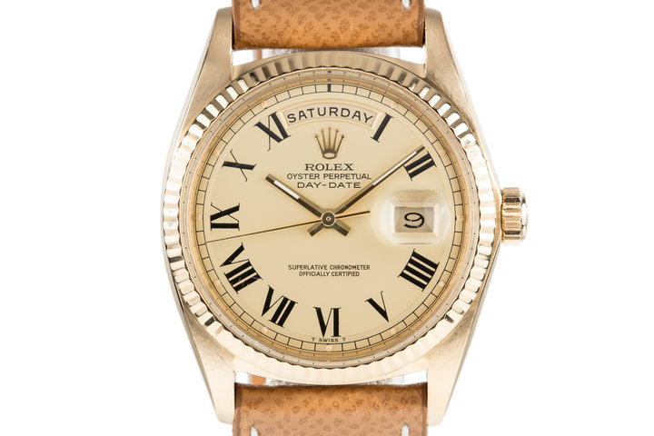 1970 Rolex 18K Day-Date with Champagne Large Roman Dial photo