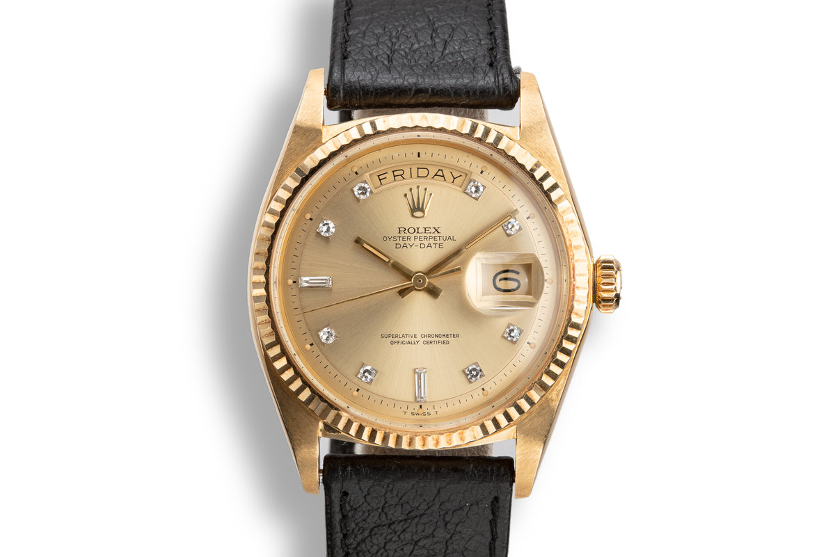1970 Rolex 18K YG Day-Date 1803 with Champagne Diamond Dial photo, #0