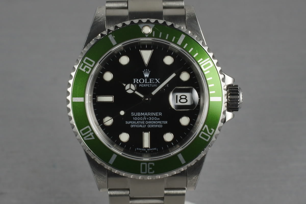 2006 Rolex Green Submariner 16610 LV with Box and Papers photo, #0