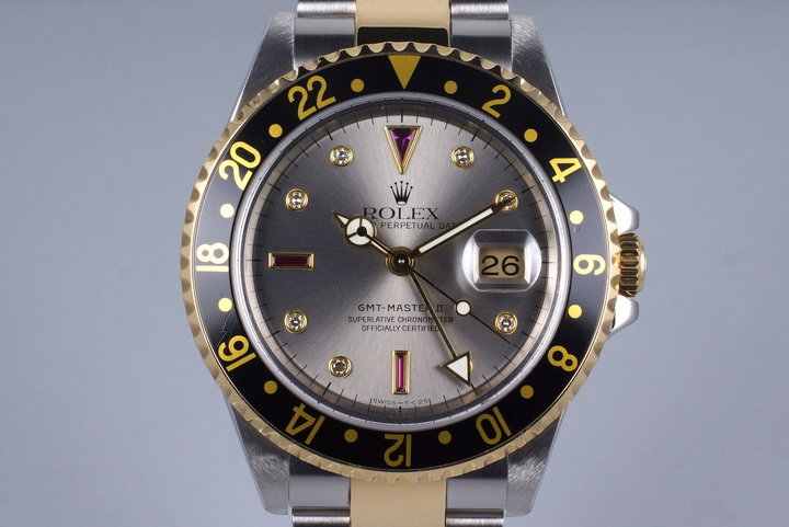 2000 Rolex Two Tone GMT II 16713 with Silver Serti Dial photo