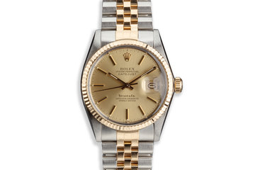 "1984 Vintage Rolex Two-Tone DateJust 16013 With Gold ""Tiffany & Co."" Dial photo"
