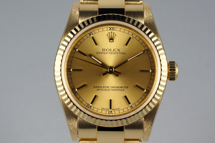 2003 Rolex YG MidSize Oyster Perpetual 77518 with Box and Papers photo