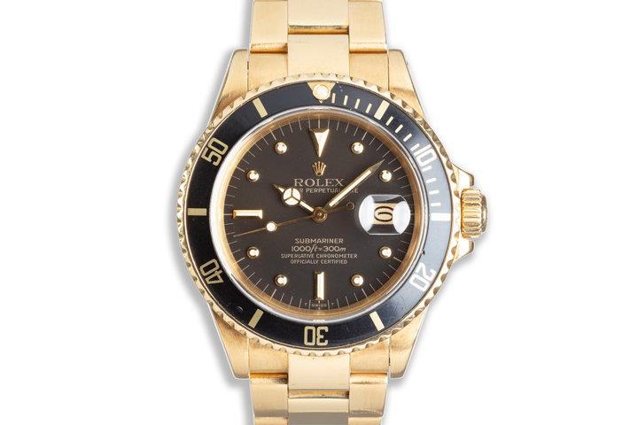1987 Rolex Submariner 16808 18K Yellow Gold photo