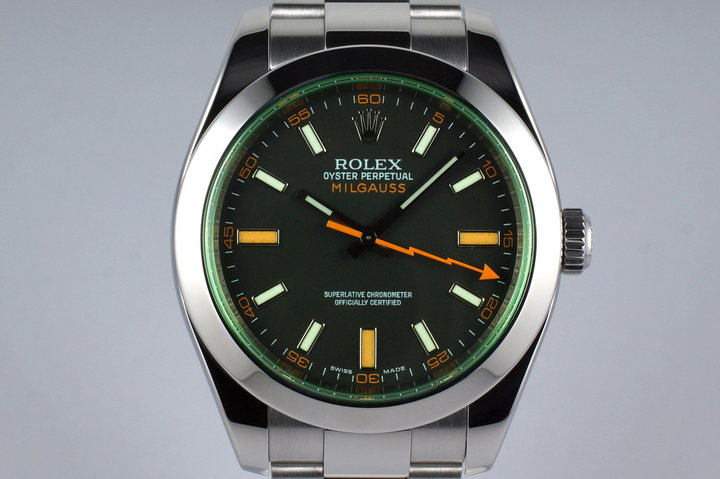 2008 Rolex Milgauss Green 116400V with Box and Papers photo