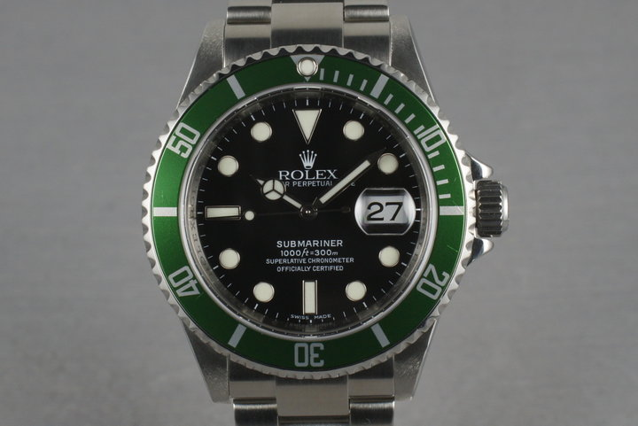 Rolex Green Submariner 16610 LV with Box and Papers M serial photo