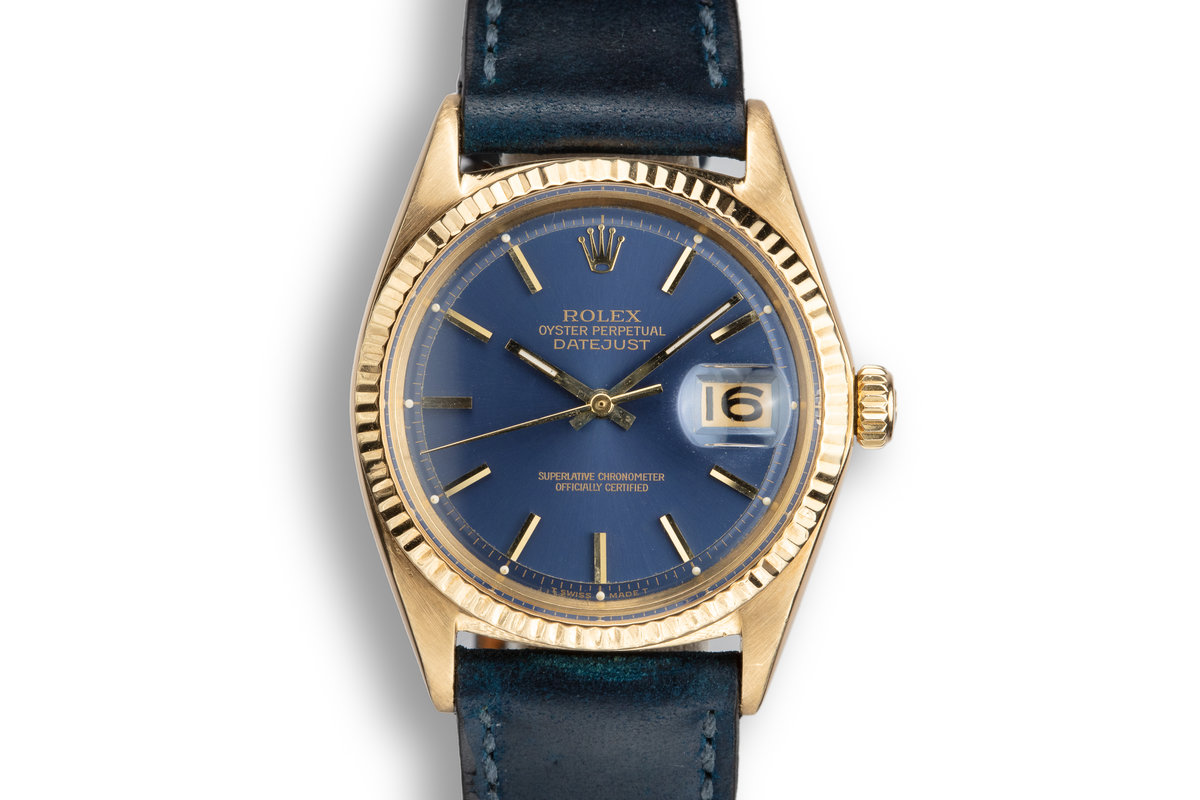 1965 Rolex 18K YG DateJust 1601 Blue Dial photo, #0
