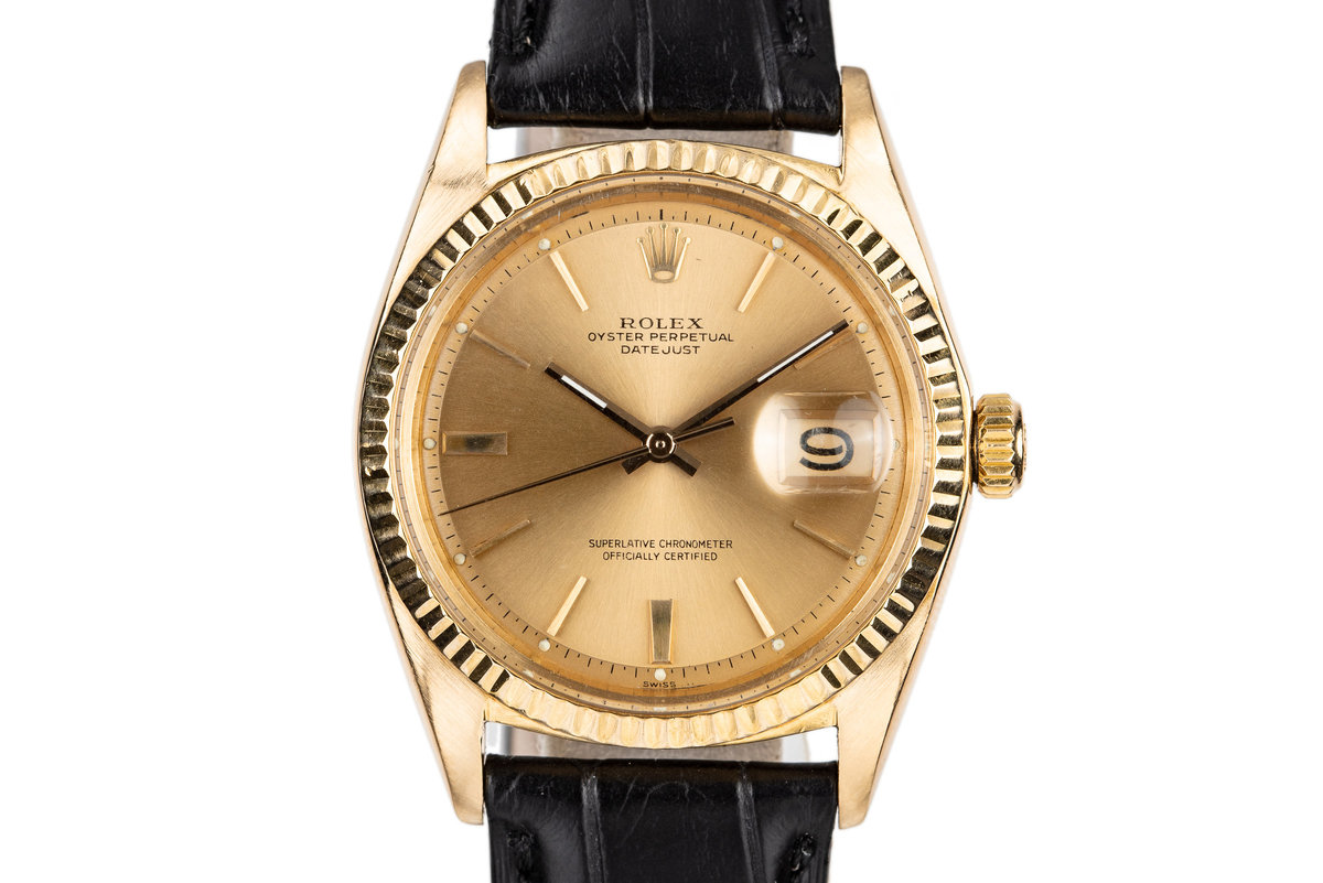 1963 Rolex 18K Yellow Gold DateJust 1601 with Box and Papers photo, #0