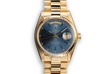 1979 Rolex 18K YG Day-Date 18038 Blue Dial with Box and Papers photo