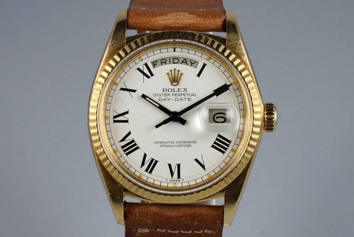 1970 Rolex YG Day-Date 1803 White Roman Dial photo