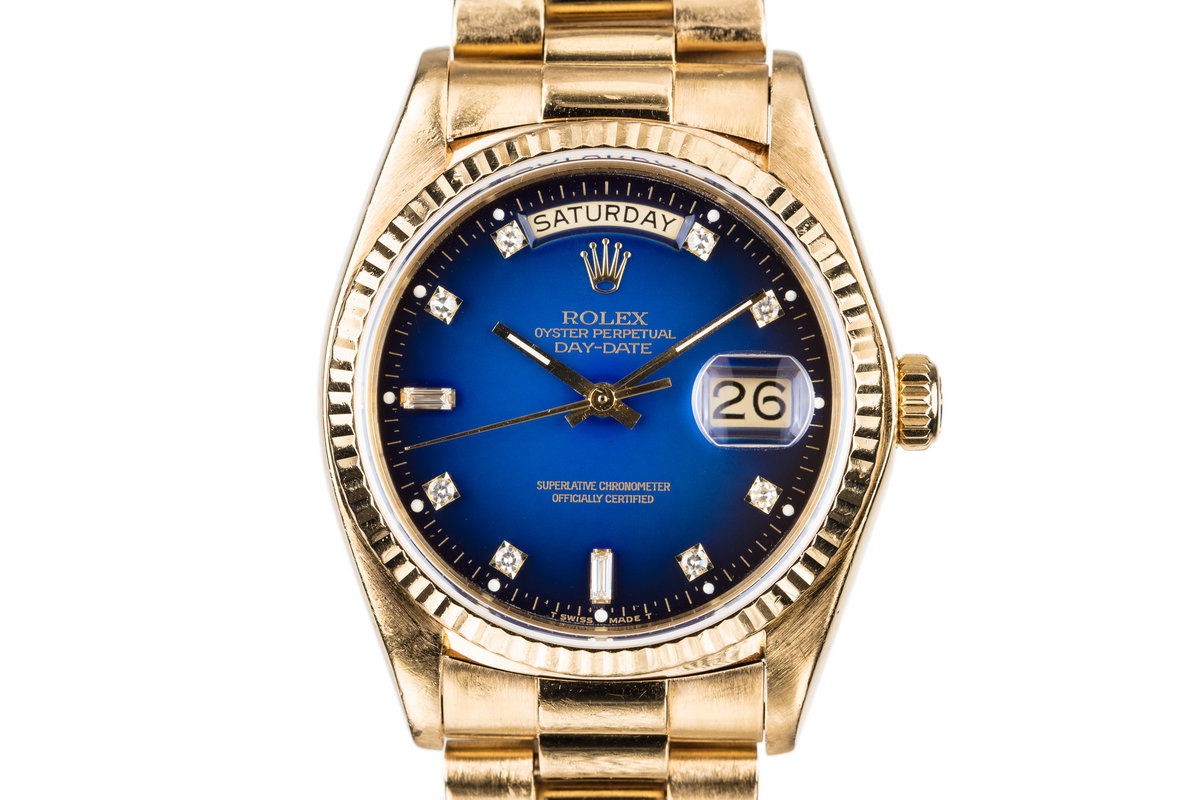 1980 Rolex Day-Date 18038 Factory Diamond Blue Vignette Dial photo, #0