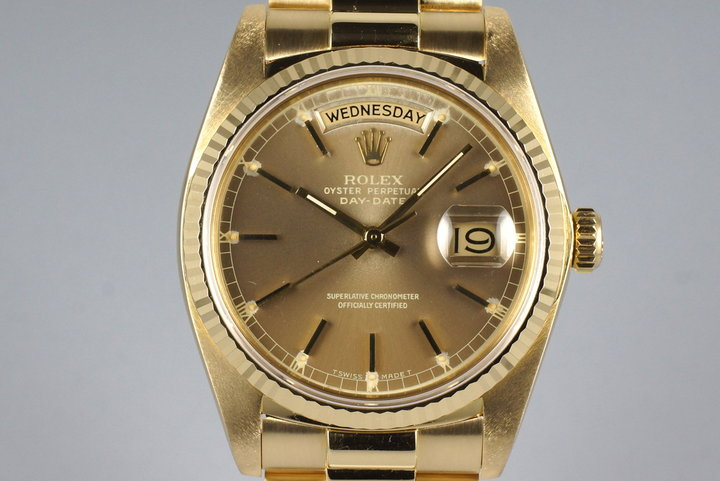 1982 Rolex YG Day Date 18038 Brown Albino Dial photo
