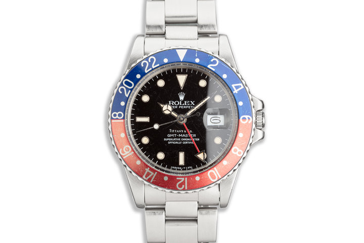 """1986 Vintage Rolex GMT-Master 16750 """"Pepsi"""" with Tiffany & Co Dial and Box photo"""