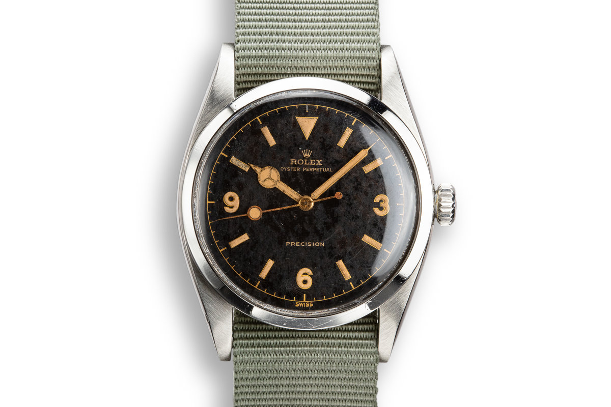 1953 Rolex Oyster Perpetual Explorer 6150 Gilt Dial with Military Clearance Diver Engraving photo, #0