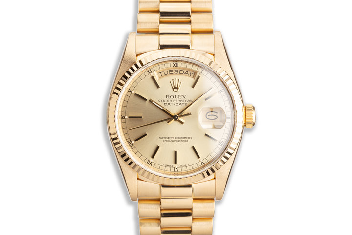 1986 Rolex 18K YG Day-Date 18038 with Gold Stick Dial photo