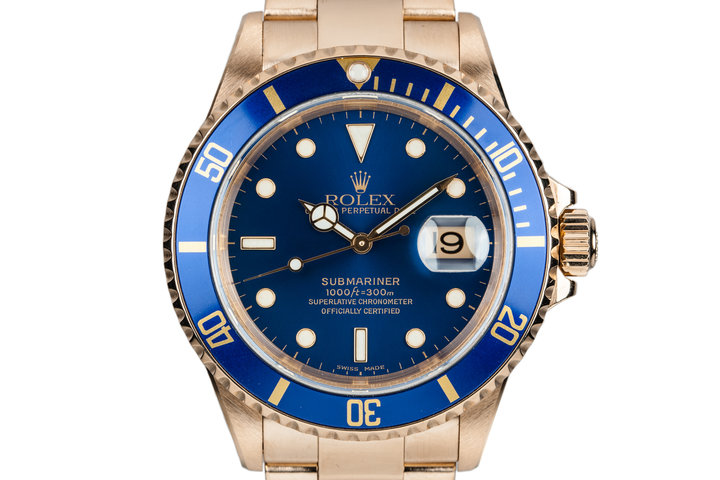 2002 Rolex 18K YG Submariner 16618 Blue Dial photo