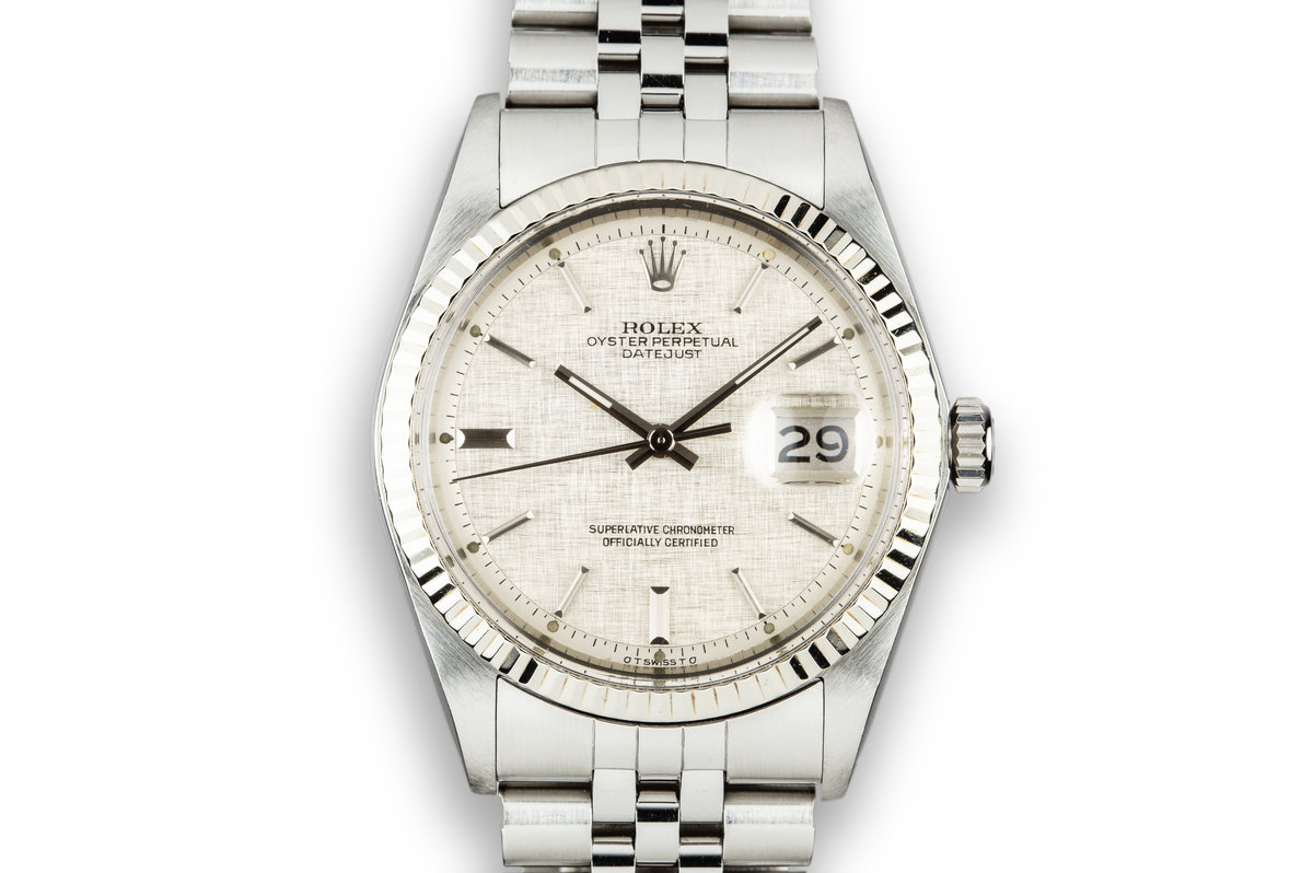 1976 Rolex DateJust 1601 with Silver Linen Sigma Dial photo, #0