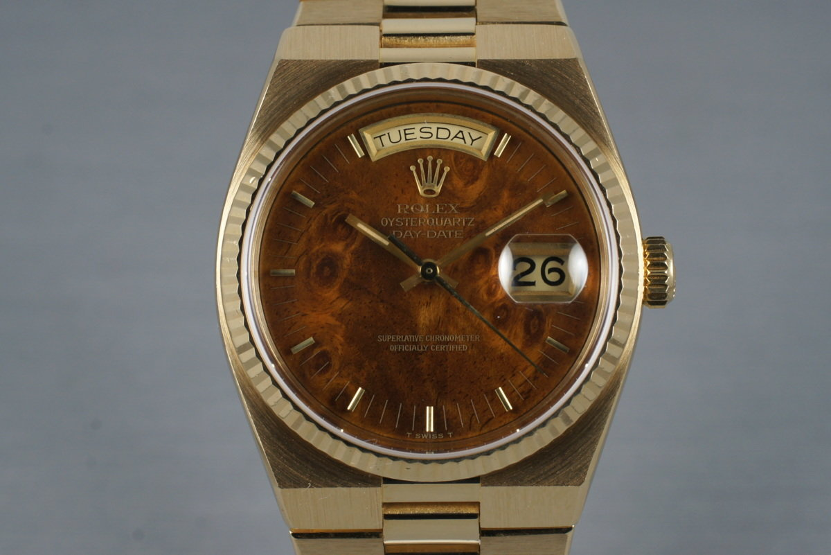 1980 YG OysterQuartz Day-Date 19018 Wood Dial with Box and Papers photo, #0