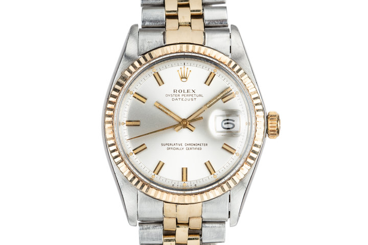 "1972 Rolex Two-Tone DateJust 1601 with Silver Sigma ""Wide Boy"" Dial photo"