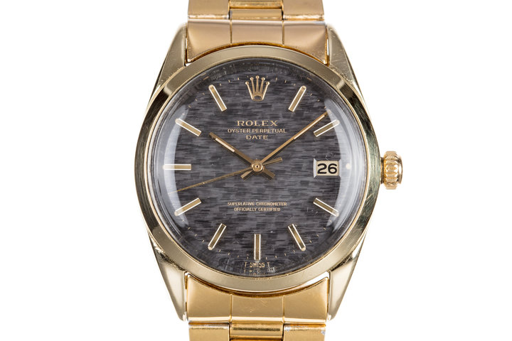 1971 Rolex 14K Gold Shell Date 1550 with Mosaic Dial photo