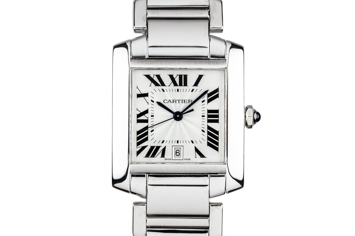 Cartier 18K White Gold Tank Francaise Date W5001153 photo, #0