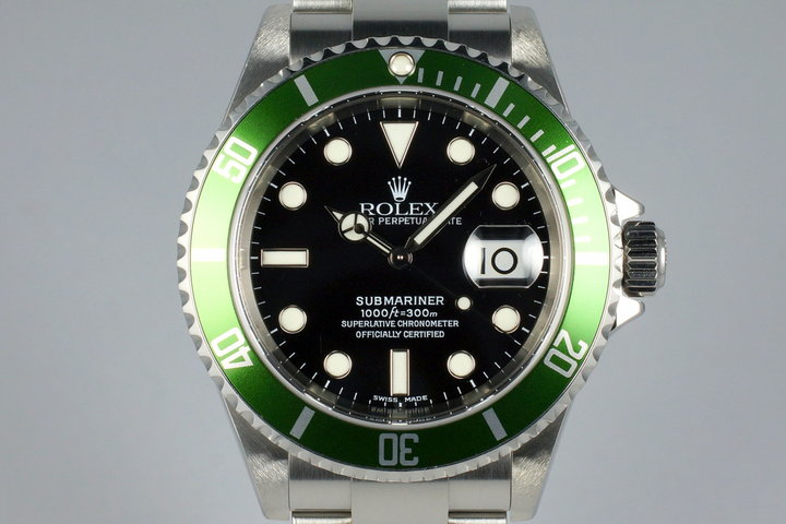 2004 Rolex Green Submariner 16610LV Mark II Dial with Box and Papers photo