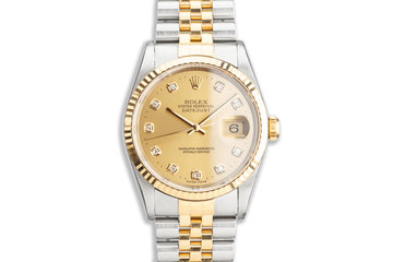 2000 Rolex Two-Tone DateJust 16233 Factory Diamond Dial photo