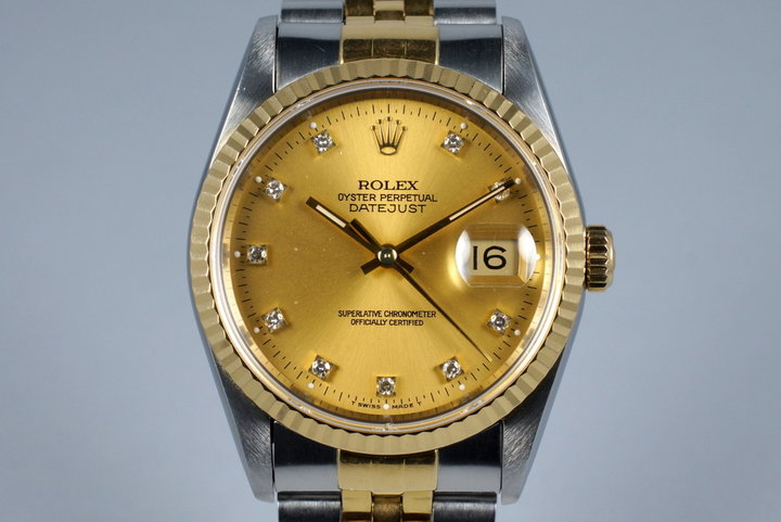 1991 Rolex Two Tone DateJust 16233 with Factory Champagne Diamond Dial photo