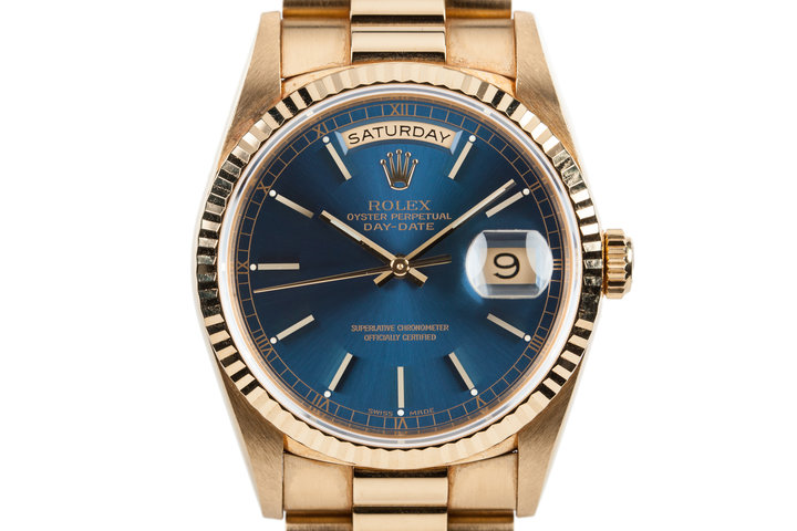 1995 Rolex 18K YG Day-Date 18238 Blue Dial with Box and Papers photo