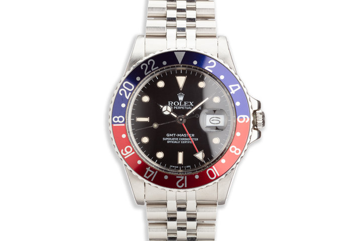 """1986 Rolex GMT-Master 16750 """"Pepsi"""" with Box Papers and Service Papers photo"""