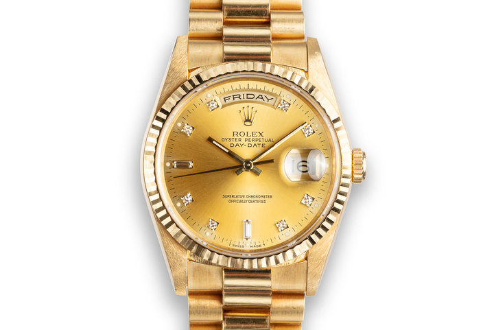 1991 Rolex 18K YG Day-Date 18238 Diamond Dial photo