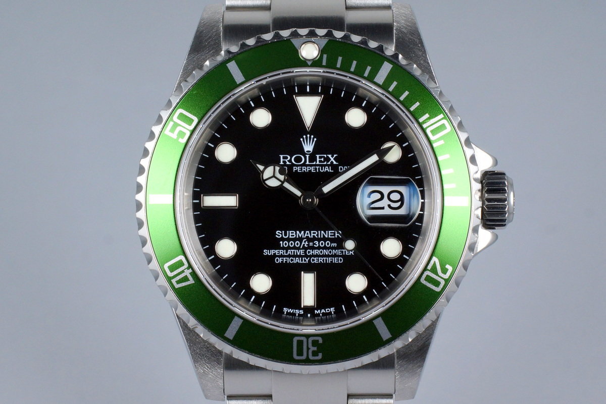 2004 Rolex Green Submariner 16610V Mark I Dial with Box and Service Papers photo, #0