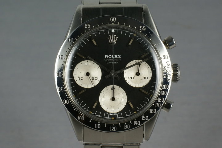 Rolex Daytona 6239 Black Dial with Early Small Daytona with white and silver print. photo