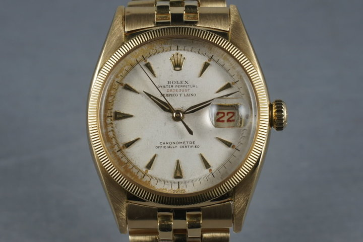 Rolex 18K Gold Datejust 6305 with Roulette date wheel and Serpico Y Laino photo