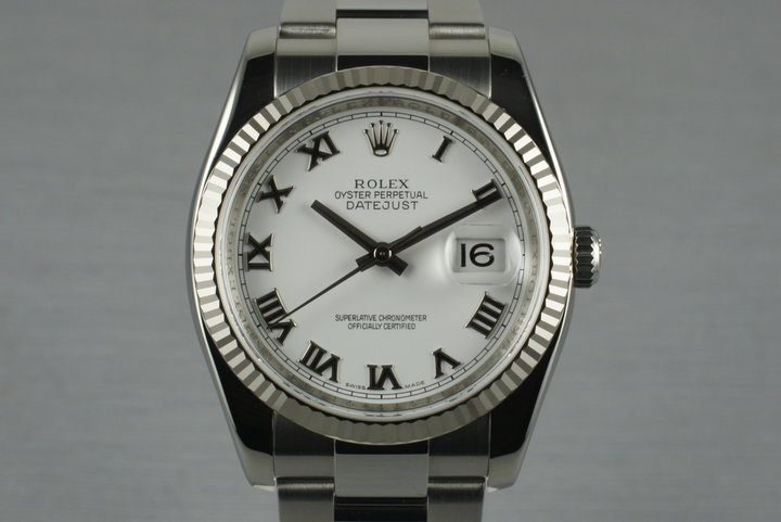 2006 Rolex DateJust 116234 with White Roman Numeral Dial photo