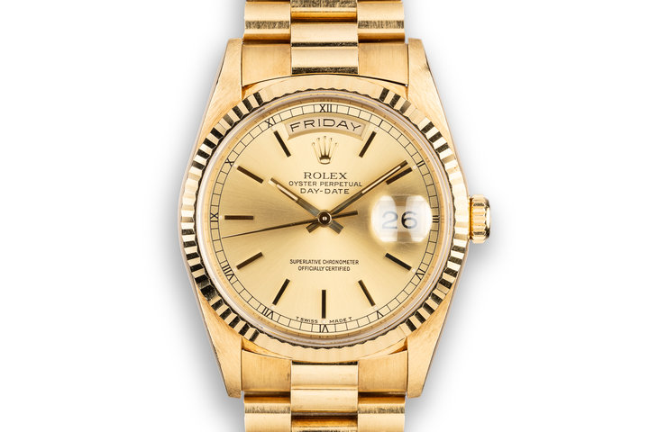 1990 Rolex 18K YG Day-Date 18238 Champagne Dial photo