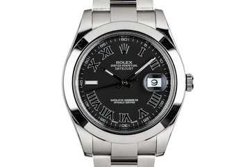 2014 Rolex DateJust 116300 Black Roman Dial with Box and Papers photo
