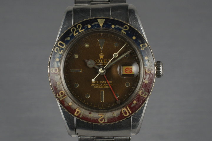 1958 Rolex GMT 6542 with tropical brown dial and bakelite insert photo