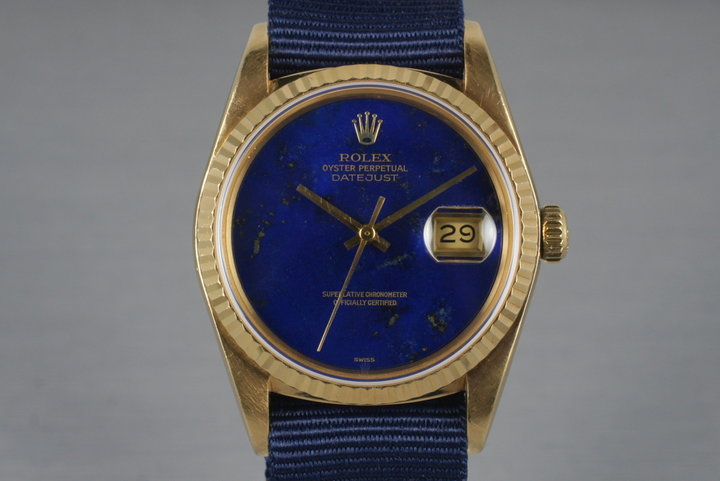 1984 Rolex YG Datejust 16018 with Lapis Dial photo
