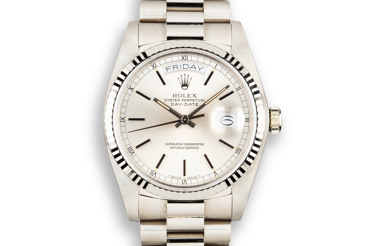 1982 Rolex 18K WG Day-Date 18039 with Silver Dial photo, #0