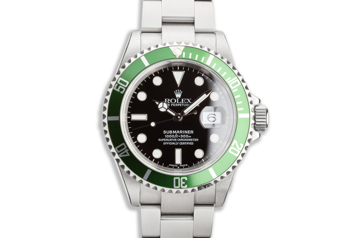 2005 Unworn Rolex Green Submariner 16610V with Box and Papers and Protective Stickers photo, #0
