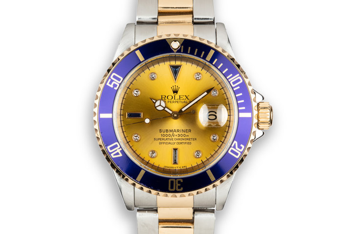 1995 Rolex Two-Tone Submariner 16613 with Champagne Serti Dial photo